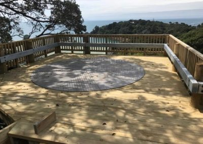 A turntable installed on a wooden platform on Waiheke Island.
